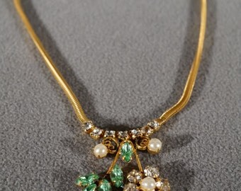 Vintage Art Deco Style Leo Glass Designer Signed Floral Rhinestone Necklace Jewelry    K#19