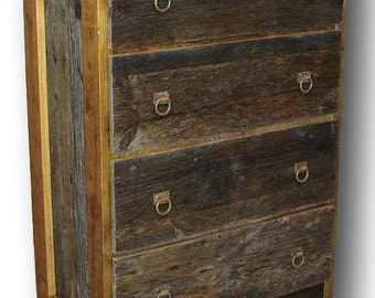 Barn Wood Two Tone Chest Dresser 4 Drawer