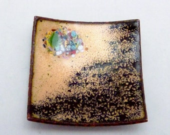 Vintage Copper Enamel Abstract 1950s Jewelry Piece Ready to Mount 22181