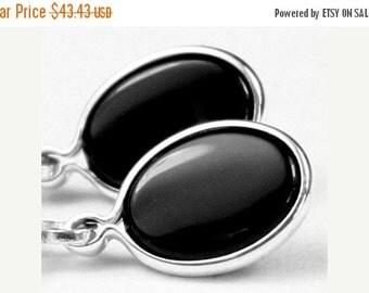 Summer Sale, 30% Off, SE001, 8x6mm Black Onyx, 925 Sterling Silver Leverback Earrings