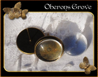 30 cabochon earstuds bronze with 12mm glass cabochons