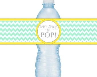 She's About To Pop Water Bottle Labels, INSTANT DOWNLOAD - Mint Chevron and Yellow About to Pop Baby Shower, you print, you cut, DIY