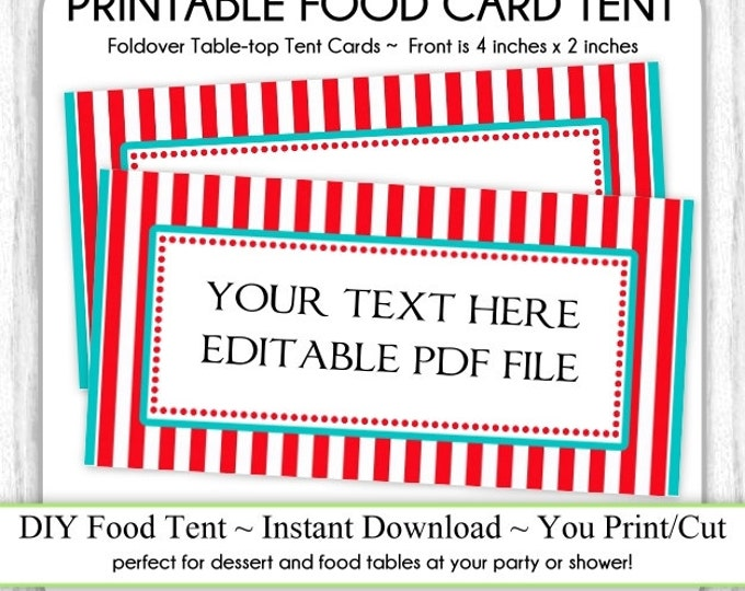 EDITABLE Table-top Tent Card, INSTANT Download, Stripes, Carnival Birthday Party Food Card, Circus Food Tents, foldover, You Print, DIY