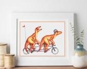 Dinosaurs on bicycle print, Velociraptors on tandem bike, 5 x 7, 8 x 10 and 11 x 14