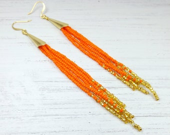 Orange and Gold Long Beaded Earrings - Orange and Gold Beaded Fringe Earrings - Orange and Gold Earrings - Jewelry Gift for Her