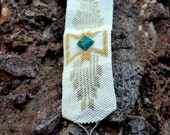 OOAK - Bracelet en perles Peyote sud-ouest - Peyote perlés sud-ouest Design-blanc - argent - rocailles perles - unique en son genre - Amazonite