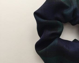 Dark blue and green tartan scrunchie