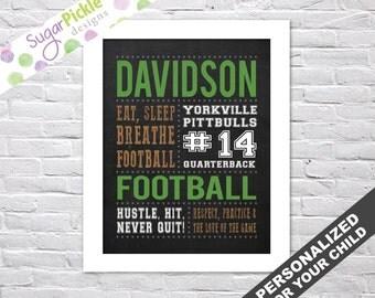 Football Subway Art, Football gift ideas for players, Football gifts, Football art, Football Team Gifts, Football Wall Art, Personalized,