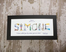 Baby Dedication Gift - Personalized Christian Gifts - Christian Name Art matted print; Baby Dedication gifts for girls or boys