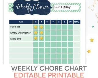 Chore Chart Printable - EDITABLE PDF, Kids Weekly Reward, Task Responsibility Checklist, Chevron, 10 Rows