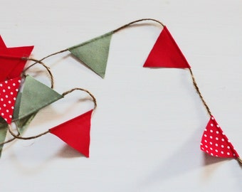 Mini Christmas Bunting - Red, Green, Red Spotty