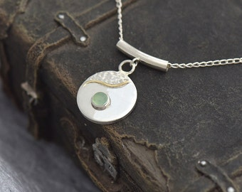 Silver Disc Pendant with Chrysophase, Chrysophase Necklace, Green Pendant