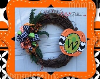 Halloween Monogram Pumpkin Grapevine Wreath