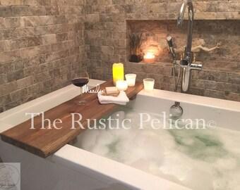Rustic Bathtub Caddy Wood Bathtub Tray   Bath Shelf   Reclaimed Wood  Barn  Wood