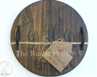 Personalized Wine Barrel - Lazy Susan - Wooden Wine Barrel - Hand Painted - Modern Rustic decor - Bar- wine Cellar - Wooden Wall Plaque