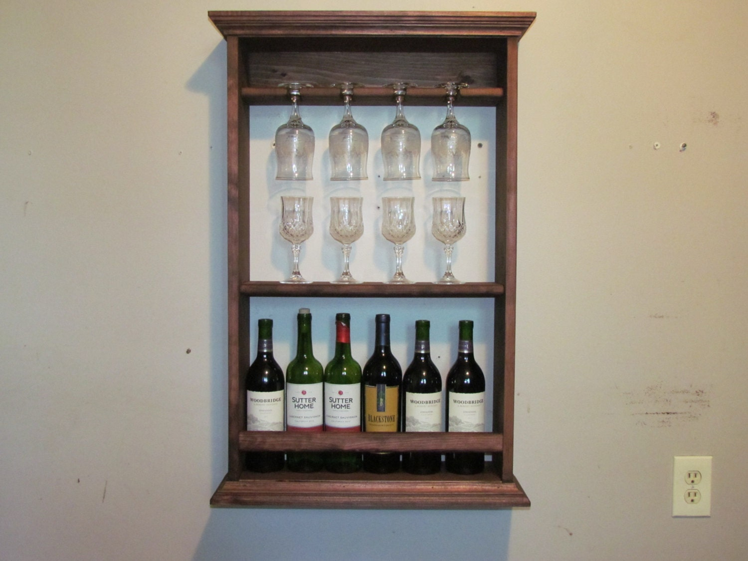 wine rack red mahogany stain liquor cabinet wall mounted. Black Bedroom Furniture Sets. Home Design Ideas