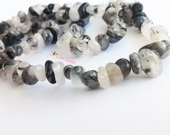 Quartz Tourmaline Necklace chips of 80 cm around the neck