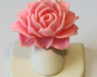 Trendy Large Light Pink Wild Cabbage Rose Fashion Ring Adjustable Band