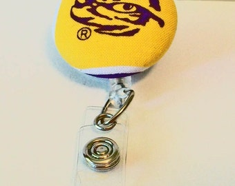 Unique Purple and Gold Tiger Eye Inspired Fabric Button Retractable Badge Reel Clip
