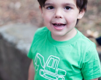 Kids Green Digger Screen Printed Shirt