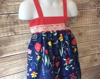 Navy red floral Hattie top
