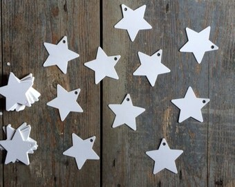 10 white paper labels tag label star star