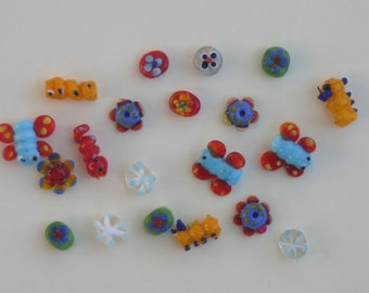 Lamp Work Beads - Butterflies, Flowers, Caterpillars