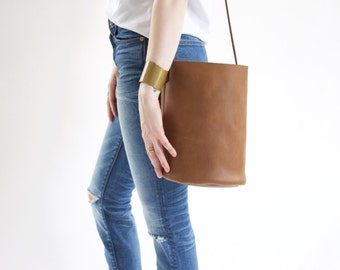 Cocoa Leather Minimal Bucket Bag