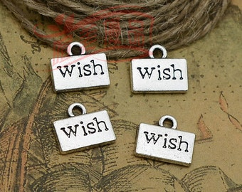 25pcs 10x13mm WISH charms antique silver Tag charms pendant