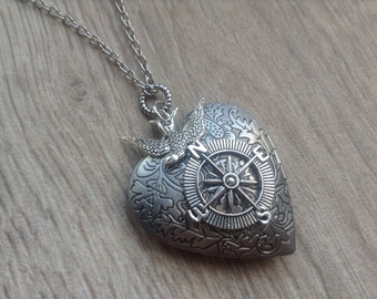 Antiqued Silver Heart Compass Locket, Follow your Heart Compass Necklace, Graduation Gift, gift for her