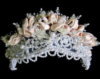 Bridal HeadBand Headpiece Faux Pearl Cluster Floral Wedding Hair Accessory Tiara