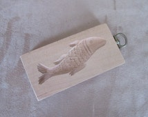 Vintage Wooden Butter/Cookie Mold, Georg Heisswolf, Fish