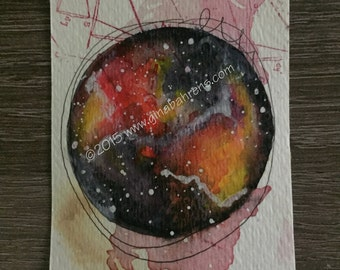 Artist Trading Card, Galaxy, Nebula, All New Mini Watercolor Painting