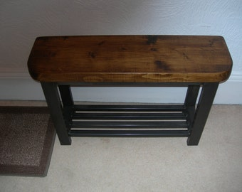 Hallway bench rounded front to bench seat with shoe storage to base rustic industrial chic