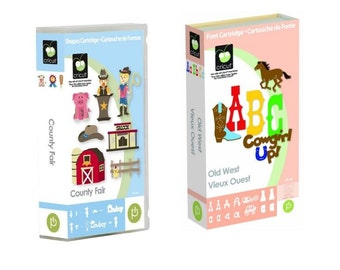2 Brand New CRICUT Cartridges County Fair & Old WEST with Fonts - Cowboy Western Country