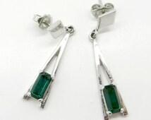Emerald Glass Earrings, Vintage Avon Earrings, Eiffel Tower, Letter A Pierced Silvertone Studs