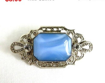 ON SALE! Blue Glass & Rhinestone Brooch, Vintage Tiger Eye Glass, Rhinestone Silvertone Pin