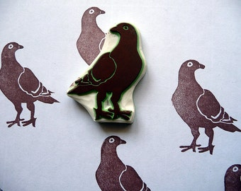 Rubber Stamp, Pigeon, Hand Made, Wildlife Bird Design