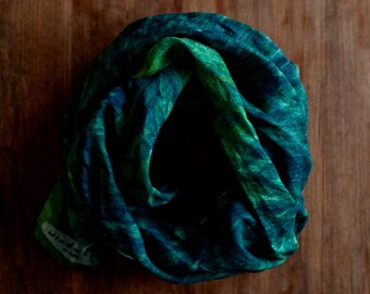 Linen scarf: painted ferns, forest floor jungle from original painting, green and blue foliage, nature inspired sustainable fashion shawl