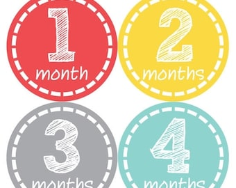 Baby Month Stickers, Baby Boy Gift, Milestone Stickers, Monthly Sticker, Monthly Baby Boy Stickers, Baby Month Milestone Stickers  168