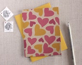 Pink & Yellow Hearts Pattern Valentine's Day Card // Modern Greeting Card
