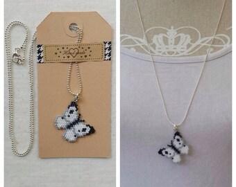 Butterfly necklace handmade pendant on a ballchain