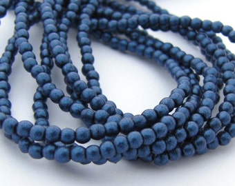 NEW Suede Blue Metallic 2mm Smooth Round Czech Glass  Beads 100pc #3089
