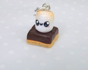 Smores Charm, Polymer Clay Charm, Stitch Marker, Food Charm,  Miniature Food Jewelry,  Kawaii, Planner Charm , Progress Keeper