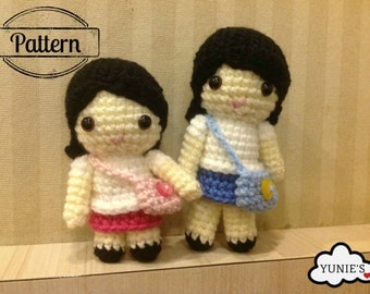 Crochet pattern doll: Sisters dolls Lina and Linda