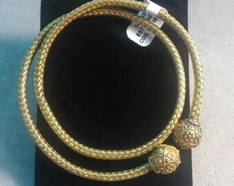 Antique 14K Gold Estruscan Coil Bracelet Italian Woven Gold Italy Amazing Unique Statement