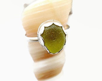 Lime Sea Glass Ring, Beach Glass Jewelry, American Ring Size 8 1/2