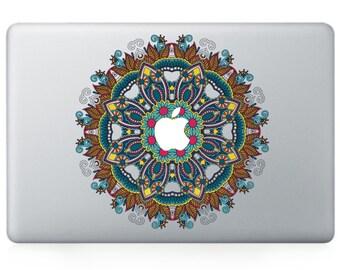 Macbook 13 inch decal sticker blue kaleidoscope and apple art for Apple Laptop