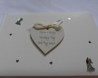 Personalised wedding/engagement photo album/guest book with presentation box