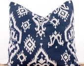 SALE ENDS SOON Navy Ikat Pillow Covers, Cushion Covers, Navy Pillowcases, Ikat, Decorative Throw Pillow Cover, 20 x 20""